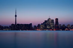 Toronto Skyline right after Sunset. Toronto Skyline photo with downtown and CN Tower taken right after sunset in cold May Evening royalty free stock image