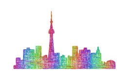 Toronto skyline silhouette - multicolor line art Royalty Free Stock Image