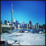 Toronto Skyline In The Snow Stock Photography
