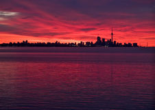 Toronto skyline before sunrise stock photo