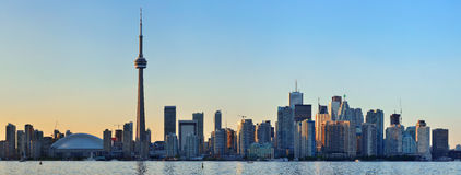 Toronto skyline. Toronto sunset over lake panorama with urban skyline royalty free stock photos