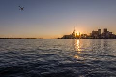 The Toronto skyline at sunset stock photography
