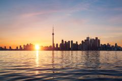 Toronto skyline at sunset Royalty Free Stock Photos