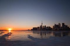 Toronto Skyline Sunset in the Winter stock photo