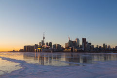 Toronto Skyline at Sunset in the Winter Stock Image