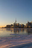 Toronto Skyline at Sunset in the Winter Stock Photography