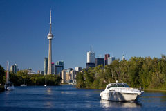 Toronto Skyline from Toronto Islands. Toronto Skyline - view from Toronto Islands Stock Images