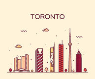 Toronto skyline trendy vector illustration linear Royalty Free Stock Photos