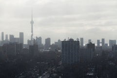 Toronto skyline view from Casa Loma snowing Stock Image