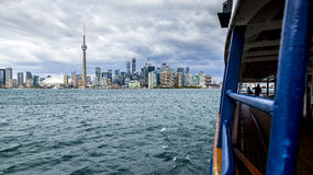 Toronto Skyline View from Ferry Boat Royalty Free Stock Image