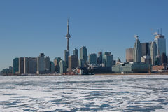 Toronto Skyline in Winter. A photo of the Toronto Skyline with a frozen Lake Ontario Stock Photography