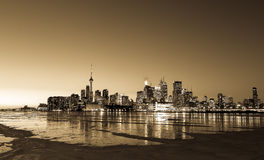Toronto Skyline in the Winter from the East in Sepia Royalty Free Stock Photo
