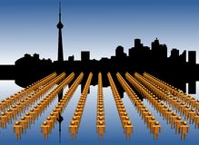Toronto skyline with workers Royalty Free Stock Image