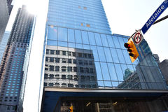 Toronto Skyscaper, reflexion building with Traffic light and sunshine Stock Photography