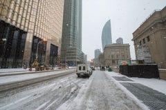 Toronto-Stadtzentrum im verschneiten Winter Stockfotografie