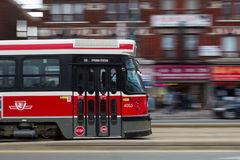 Toronto Street Car Moving at Speed Stock Photo