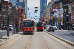 Toronto Streetcar, Spadina Avenue, Chinatown. #510 Spadina streetcar line runs through Toronto`s Chinatown at Dundas Street Stock Photography