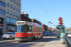 Toronto streetcar transportation. Streetcar transportation in downtown Toronto, Canada with motion blur Royalty Free Stock Images