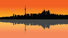 Toronto sunset. Illustration of a Toronto sunset and the reflection on the lake Royalty Free Stock Images