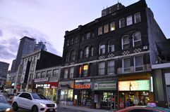 Toronto, 24th June: Downtown Buildings on Yonge Street by night from Toronto of Ontario Province in Canada. Downtown Buildings on Yonge Street by night from Stock Photo