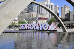 Toronto, 24th June: Nathan Phillips Square with New City Hall of Toronto from Ontario Province in Canada. Nathan Phillips Square of Toronto in Ontario Province Royalty Free Stock Image