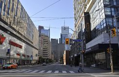 Toronto, 24th June: Street View and Ryerson University from Toronto of Ontario Province in Canada. Street view and Ryerson University from Toronto of Ontario Royalty Free Stock Photos