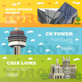 Toronto tourist landmark banners. Vector illustration with Canada famous buildings Royalty Free Stock Image
