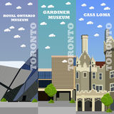 Toronto tourist landmark banners. Vector illustration with Canada famous buildings Stock Image