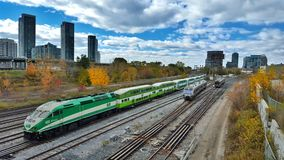 Toronto Train. Go train and airport train come in and out Toronto Stock Photography