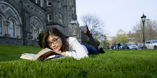 Toronto universities. Young nice attentive woman lies on green grass and reads book Stock Photography