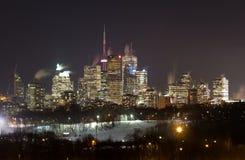 Toronto van de binnenstad bij Nacht in de Winter Stock Afbeelding
