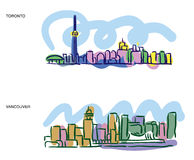 Toronto Vancouver cityscape sketches. Colorful sketches of Toronto and Vancouver cityscapes Royalty Free Stock Image