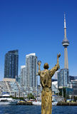 Toronto waterfront with CN Tower and sculpture Stock Photo