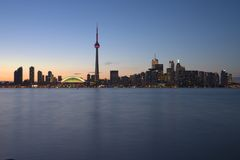 Toronto Waterfront at dusk. From central island Royalty Free Stock Photos