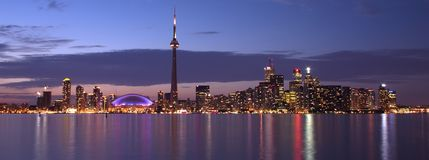 Toronto Waterfront panorama. Toronto waterfrong at dusk Royalty Free Stock Photo