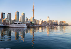 Toronto Waterfront at sunset Stock Images
