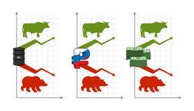 Toros y osos Subida y caída de citas Verde encima de la flecha Rojo libre illustration