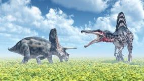 Torosaurus and Spinosaurus Royalty Free Stock Photography
