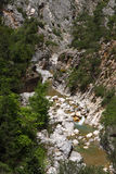 Torossky mountain. The fast mountain river at the bottom of a canyon Royalty Free Stock Photography