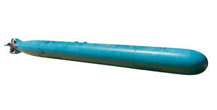 Torpedo. World War II torpedo isolated on a white background Stock Photography