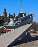 Torpedo boat. On pedestal, tourist attraction in Kaliningrad, Russia Royalty Free Stock Photos