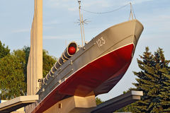 Torpedo boat, the monument to Baltic seamen. Kaliningrad, Russia Stock Image