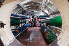 Torpedo compartment in russian submarine Stock Photography