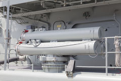 Torpedo launchers on a destroyer Stock Photo