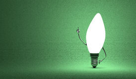 Torpedo light bulb character in aha moment Stock Photography