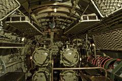 Torpedo Machinery. The torpedo room in a WWII British Submarine Royalty Free Stock Image