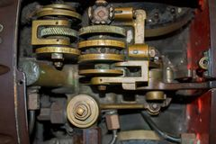 Torpedo mechanism in an old ship stock images