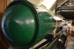Torpedo in onderzeeër s-56 in Vladivostok, het Verre Oosten, Russische Federatie stock foto