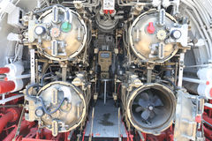 Torpedo room section of submarine Stock Photos