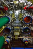 Torpedo room and torpedoes. In the diesel submarine Stock Images